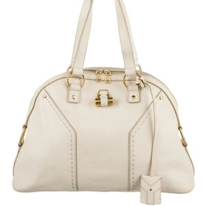 Yves Saint Laurent Muse Bag White and Gold